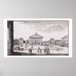 コヴェント・ガーデン1647年の広場(版木、銅版、版画) ポスター
