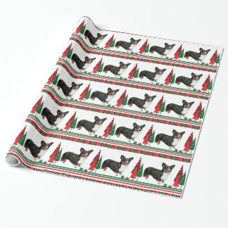 コーギーのクリスマスの包装紙 ラッピングペーパー