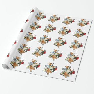 コーギーのクリスマスの買物客の包装紙 ラッピングペーパー