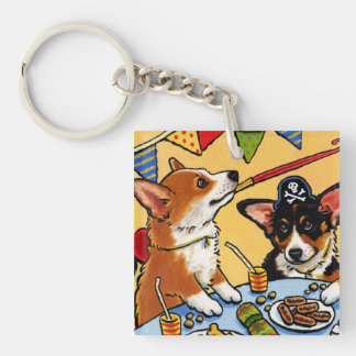 コーギーのパーティ犬の正方形Keychain キーホルダー