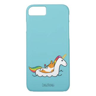 コーギーのユニコーンのFloatieの電話箱 iPhone 7ケース