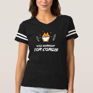 コーギーの女性のワイシャツのためのトレーニング Tシャツ