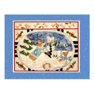 コーギーの雪だるまの郵便はがき ポストカード