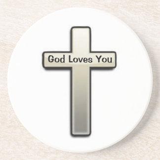 コースターの白人の銀製の十字の神は愛します コースター