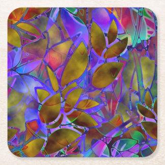 コースターの花柄のステンドグラス スクエアペーパーコースター