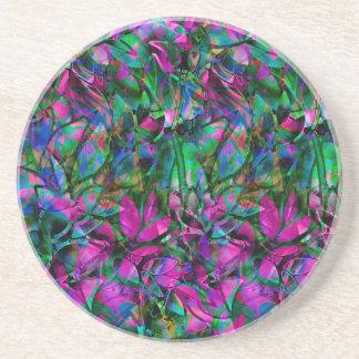 コースターの花柄の抽象芸術のステンドグラス コースター