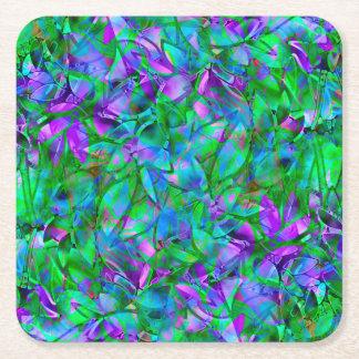 コースターの花柄の抽象芸術のステンドグラス スクエアペーパーコースター