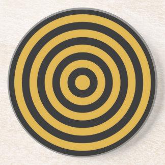 コースター-円形-黒及びGoldenrodの円 コースター
