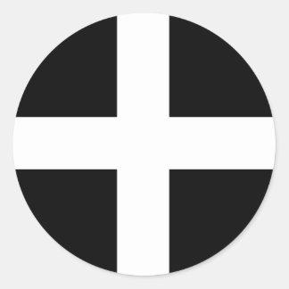 コーニッシュの旗のステッカー ラウンドシール