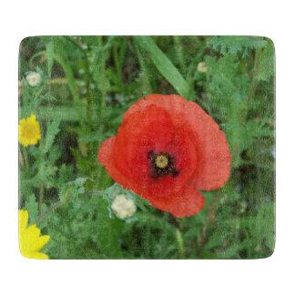 コーニッシュの野生の花のケシ カッティングボード