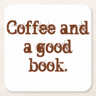 「コーヒーおよびよい本」のコースター スクエアペーパーコースター