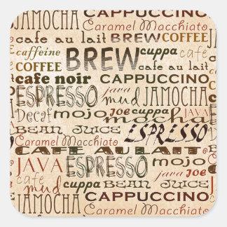 コーヒーおよびクリーム スクエアシール