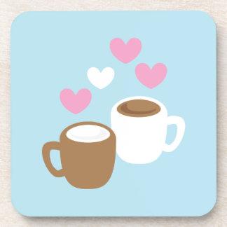 コーヒーおよびココアかわいい愛ハート コースター