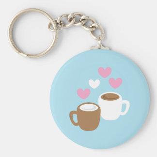 コーヒーおよびココアかわいい愛ハート ベーシック丸型缶キーホルダー