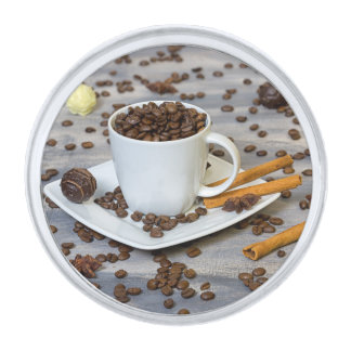 コーヒーおよびスパイス 銀色 ラペルピン