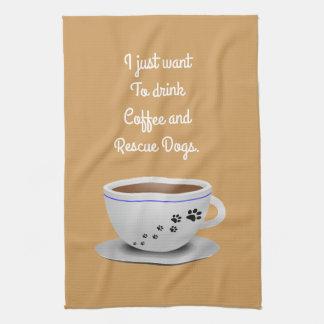 コーヒーおよび犬の台所タオル キッチンタオル