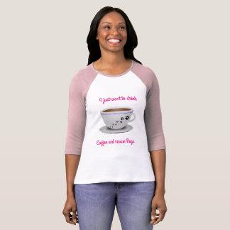 コーヒーおよび犬の長い袖 Tシャツ