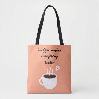 """""""コーヒーすべてによりよい""""はトートバックをします トートバッグ"""