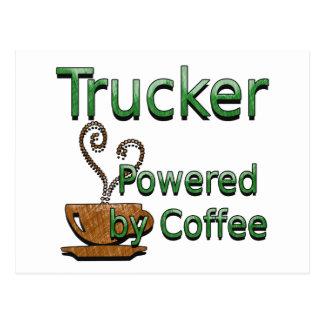 コーヒーによって動力を与えられるトラック運転手 ポストカード