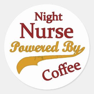 コーヒーによって動力を与えられる夜ナース ラウンドシール