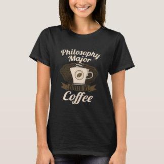 コーヒーによって燃料を供給される哲学の専攻学生 Tシャツ