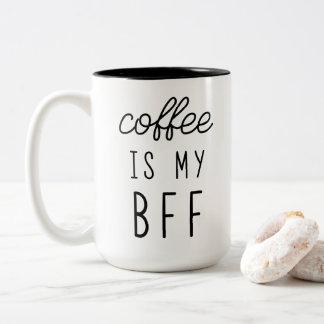 コーヒーは私のBFF 15ozのマグです ツートーンマグカップ