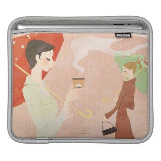コーヒーを握っている女性 iPadスリーブ
