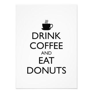 コーヒーを飲み、ドーナツを食べて下さい フォトプリント