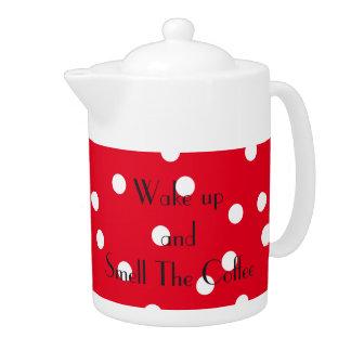 コーヒーを!目覚め、かいで下さい!! 水玉模様のポット