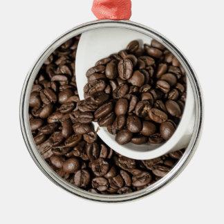 コーヒーカップおよび豆 メタルオーナメント