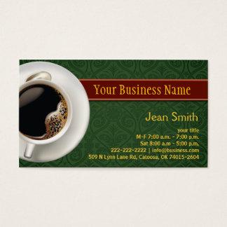 コーヒーカップのダマスク織の緑の名刺 名刺