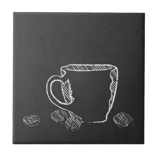 コーヒーカップのチョーク タイル