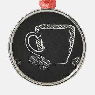 コーヒーカップのチョーク メタルオーナメント