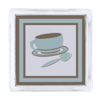 コーヒーカップ及びスプーン 銀色 ラペルピン