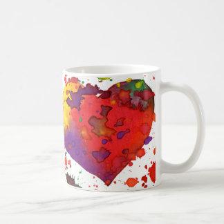 コーヒーカップ、水彩画のハート コーヒーマグカップ