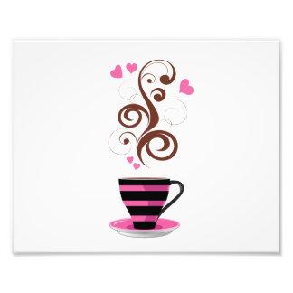 コーヒーカップ、渦巻、ハート-ピンクの黒いブラウン フォトプリント