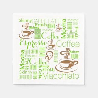 コーヒーコラージュの緑の茶色 スタンダードカクテルナプキン