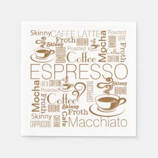 コーヒーコラージュパターン茶色の白 スタンダードカクテルナプキン