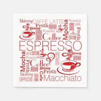 コーヒーコラージュパターン赤い白 スタンダードカクテルナプキン