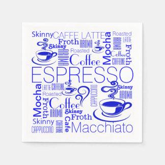 コーヒーコラージュパターン青い白 スタンダードカクテルナプキン
