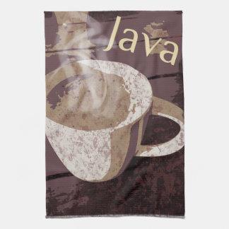 コーヒージャワの熱いマグ キッチンタオル