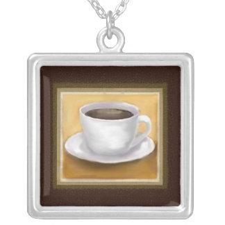コーヒーテーマのネックレス シルバープレートネックレス