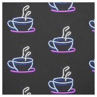コーヒーネオンサインのコーヒーカップの生地 ファブリック