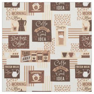 コーヒーパターン生地 ファブリック