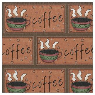 コーヒーパターン綿のあや織りの生地 ファブリック