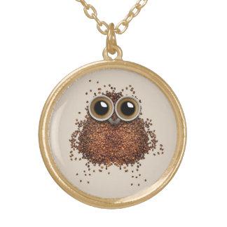 コーヒーフクロウのネックレス ゴールドプレートネックレス
