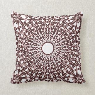 コーヒーブラウンのかぎ針編みのレースの枕 クッション