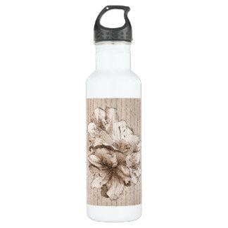 コーヒーブラウンの図解入りの、写真付きのな花の花のラブレター ウォーターボトル