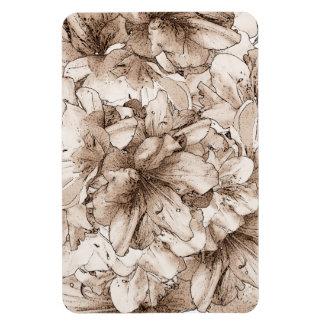 コーヒーブラウンの図解入りの、写真付きのな花の花柄パターン マグネット