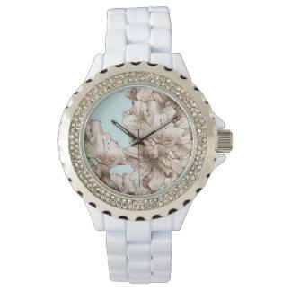 コーヒーブラウンの図解入りの、写真付きのな花 + 色をカスタマイズ 腕時計